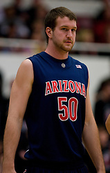 February 27, 2010; Stanford, CA, USA;  Arizona Wildcats center Alex Jacobson (50) during the second half against the Stanford Cardinal at Maples Pavilion.  Arizona defeated Stanford 71-69.