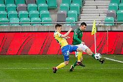 Dusan Stojinovic of NK Celje and Dino Stiglec of NK Olimpija Ljubljana during football match between NK Olimpija Ljubljana and NK Celje in 1st leg match in Semifinal of Slovenian cup 2017/2018, on April 4, 2018 in SRC Stozice, Ljubljana, Slovenia. Photo by Urban Urbanc / Sportida