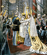 Baptism of the Grand Duchess Tatiana, daughter of Nicholas II of Russia. From 'Le Petit Journal', Paris, 11 October 1897.