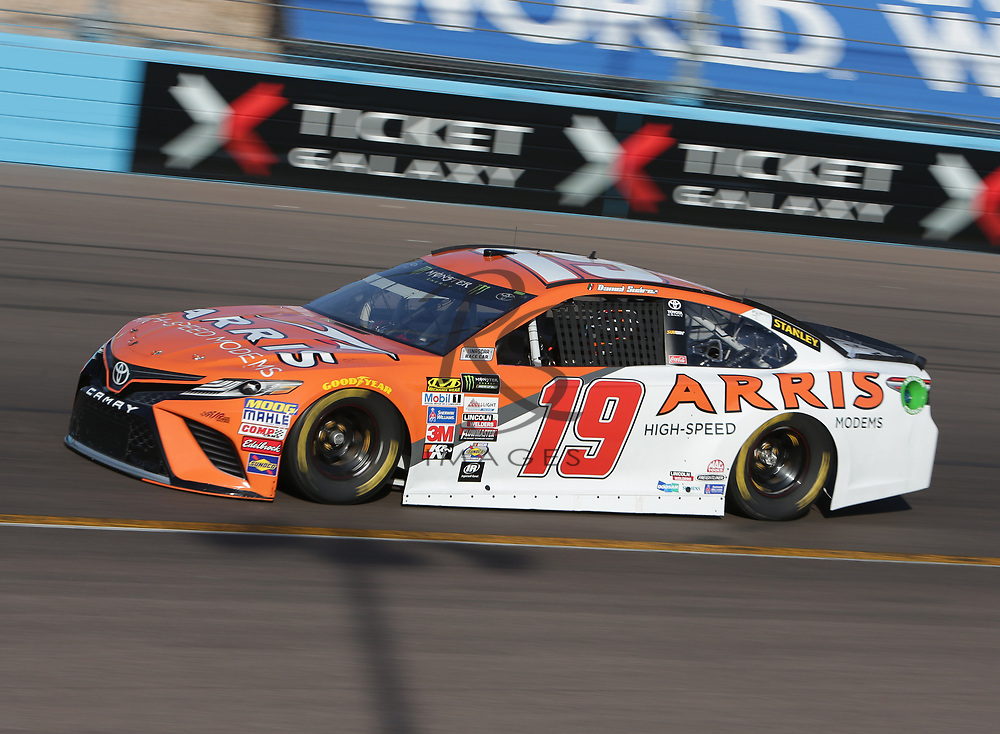 Daniel Suarez qualifies for Sunday's NASCAR Cup Series auto race on Friday, March 17, 2017, in Avondale, Ariz.  (AP Photo/Rick Scuteri)