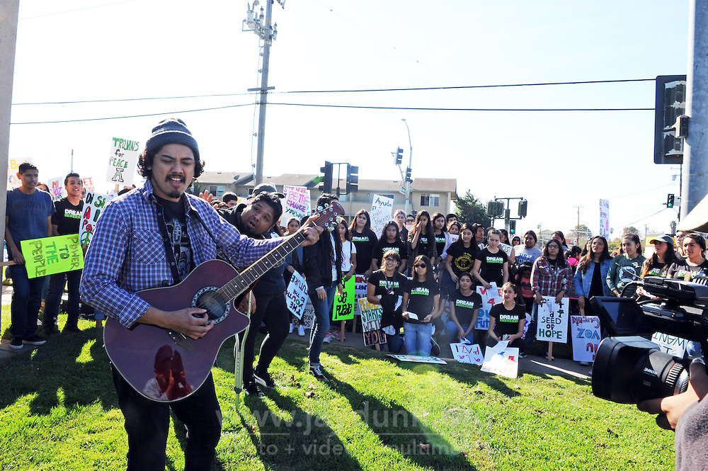 Baktun 12's Estos Guys perform ¡A Vota! during the event. Organized by the Salinas Valley Dream Academy, students and city residents participated in a Youth Empowerment March & Rally on Saturday, November 5. The rally took place in Closter Park after a march through neighboring streets.