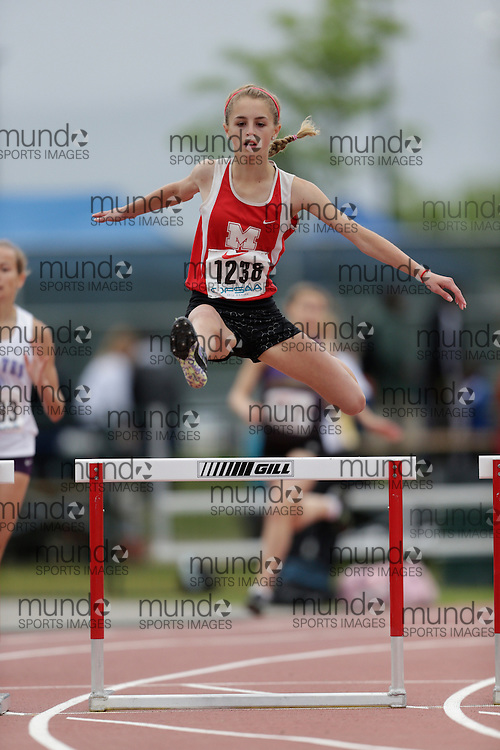 Kylie Paliani of Medway HS - Arva competes in the 300m hurdle heats at the 2013 OFSAA Track and Field Championship in Oshawa Ontario, Saturday,  June 8, 2013.<br />