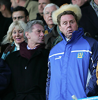 Photo: Lee Earle.<br /> Portsmouth v West Bromwich Albion. The Barclays Premiership. 17/12/2005. Portsmouth Chairman Milan Mandaric (L) with manager Harry Redknapp just before kick-off.
