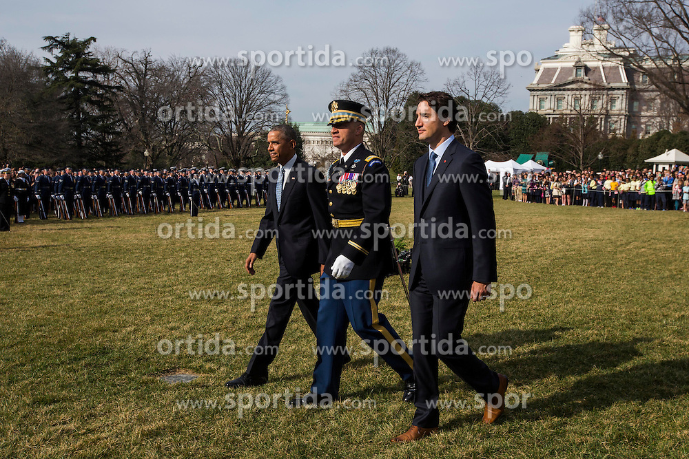 U.S. President Barack Obama (L) welcomes Prime Minister of Canada Justin Trudeau (R) at an arrival ceremony on the South Lawn of the White House, in Washington, DC, USA, 10 March 2016. This is the first official visit of Prime Minister of Canada Justin Trudeau to the White House. EXPA Pictures &copy; 2016, PhotoCredit: EXPA/ Photoshot/ Jim Loscalzo<br /> <br /> *****ATTENTION - for AUT, SLO, CRO, SRB, BIH, MAZ, SUI only*****