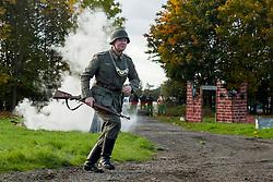 A Re-enactor portrayiing a Feldgendarme during a battle battle re-enactment in on Pickering Showground<br /> <br /> 17/18 October 2015<br />  Image &copy; Paul David Drabble <br />  www.pauldaviddrabble.co.uk