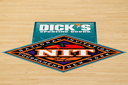 Nov 14, 2011; Stanford CA, USA;  Detailed view of the preseason NIT logo on the court before the first round of the preseason NIT between the Southern Methodist Mustangs and the Colorado State Rams at Maples Pavilion.  Mandatory Credit: Jason O. Watson-US PRESSWIRE