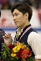 KELOWNA, BC - OCTOBER 27: Mens long program bronze medalist, Japanese skater Keiji Tanaka stands on the ice at Prospera Place on October 27, 2019 in Kelowna, Canada. (Photo by Marissa Baecker/Shoot the Breeze)