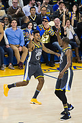 Golden State Warriors guard Nick Young (6) reacts to scoring a three pointer against the LA Clippers at Oracle Arena in Oakland, California, on February 22, 2018. (Stan Olszewski/Special to S.F. Examiner)