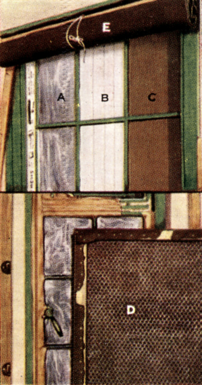 Air Raid Precautions: Set of 50 cards issued by WD & H0 Wills, Britain 1938, in preparation for the anticipated coming of World War II.  Window Protection: A,B,C,  two layers of semi-transparent paper, mosquito netting, or thick brown paper pasted to glass: D, If glass shattered, make frame to hold chicken netting and 2 layers of old blanket and fix to window frame. E, curtain of thick material to be fixed over window frame