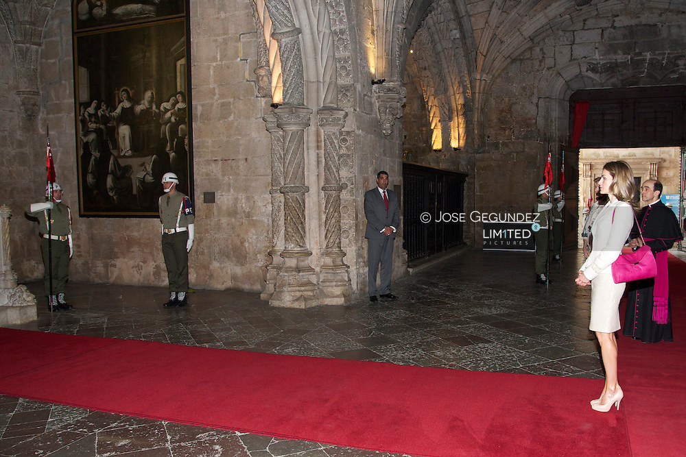 Prince Felipe and Princess Letizia visit the Los Jeronimos Monastery in Lisbon on May 30, 2012 at the start of the couple's three-day visit to Portugal