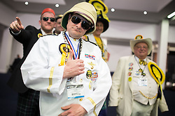 © Licensed to London News Pictures . 13/02/2014 . Manchester , UK . Monster Raving Loonies arrive , lead by candidate Captain Chaplington-Smyth . The count for the Wythenshawe and Sale East by-election , at Manchester Central this evening . Photo credit : Joel Goodman/LNP