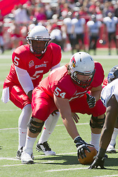 13 September 2014:  Tre Roberson under center Mark Spelman during an NCAA football game between the Eastern Illinois Panthers and the Illinois State Redbirds at Hancock Stadium in Normal IL