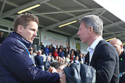 AFC Wimbledon Manager Neal Ardley and Hartlepool United Manager Craig Hignett prior the Sky Bet League 2 match between Hartlepool United and AFC Wimbledon at Victoria Park, Hartlepool, England on 25 March 2016. Photo by Stuart Butcher.
