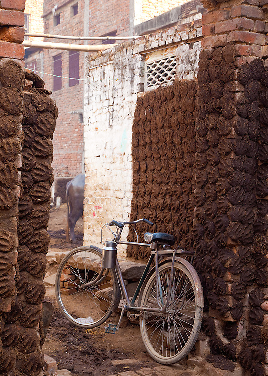A Bicycle Sits At Cow Dunk Recycling Compound in Varanasi, India