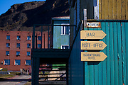 Street signs in Barentsburg, a Russian coal mining town in the Norwegian Archipelego of Svalbard. Once home to about 2000 miners and their families, less than 500 people now live here.