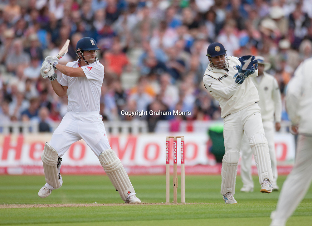 Alastair Cook bats during his double hundred in the third npower Test Match between England and India at Edgbaston, Birmingham.  Photo: Graham Morris (Tel: +44(0)20 8969 4192 Email: sales@cricketpix.com) 12/08/11