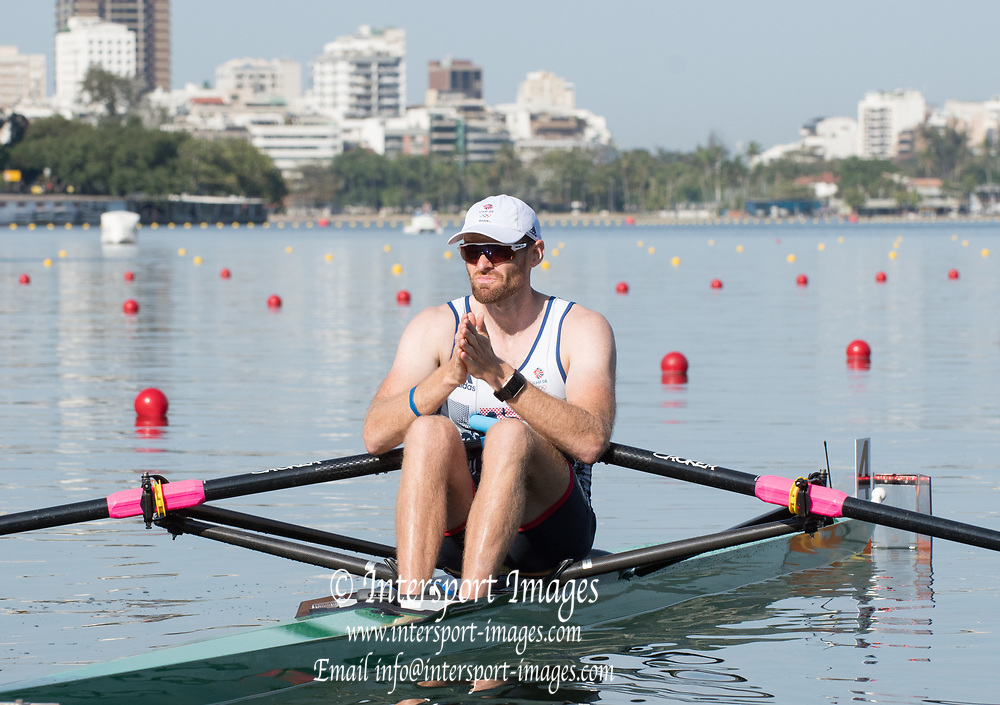 Rio de Janeiro. BRAZIL.   2016 GBR M1X. Alan CAMPBELL, before  the start of his heat at the Olympic Rowing Regatta. Lagoa Stadium,<br /> Copacabana,  &ldquo;Olympic Summer Games&rdquo;<br /> Rodrigo de Freitas Lagoon, Lagoa. Saturday  06/08/2016 <br /> <br /> [Mandatory Credit; Peter SPURRIER/Intersport Images]