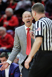NORMAL, IL - February 02: An excited Dan Muller pleads his case with Gene Grimshaw during a college basketball game between the ISU Redbirds and the University of Loyola Chicago Ramblers on February 02 2019 at Redbird Arena in Normal, IL. (Photo by Alan Look)