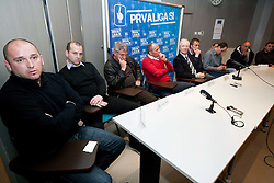 Sinisa Brkic, Damjan Romih, Bojan Prasnikar, Darko Milanic, Branko Florjanic, Miran Srebrnic, Ante Simundza during press conference of 1st SNL PrvaLiga, on February 29, 2012 in Koper, Slovenia.  (Photo By Vid Ponikvar / Sportida.com)