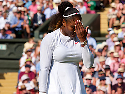 LONDON, ENGLAND - Saturday, July 14, 2018: Serena Williams (USA) during the Ladies' Singles Final match on day twelve of the Wimbledon Lawn Tennis Championships at the All England Lawn Tennis and Croquet Club. Williams lost 6-3, 6-3. (Pic by Kirsten Holst/Propaganda)