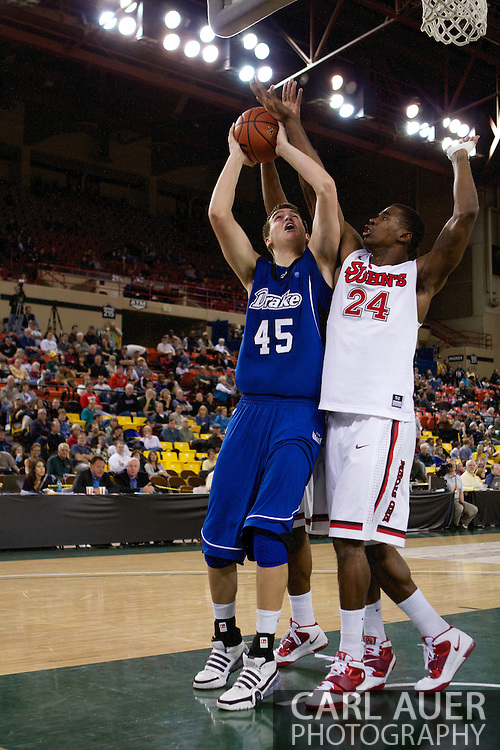 November 26th, 2010:  Anchorage, Alaska - Drake Bulldog sophomore center Seth VanDeest (45) attempts a shot in the Bulldog's loss to St. Johns at the Great Alaska Shootout.  The Red Storm defense held Drake to a tournament low score as St. Johns advanced to the final game 82-39.