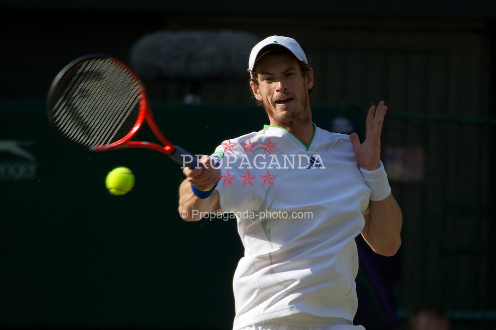 LONDON, ENGLAND - Friday, July 1, 2011: Andy Murray (GBR) in action during the Gentlemen's Singles Semi-Final match on day eleven of the Wimbledon Lawn Tennis Championships at the All England Lawn Tennis and Croquet Club. (Pic by David Rawcliffe/Propaganda)