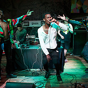 """October 17, 2013 - New York, NY : The Chicago R&B group """"Jody"""" performs at Fader Fort in Brooklyn on Thursday night during the third day of the 2013 CMJ Music Festival. Pictured here, from left, are David Robertson, Jeremiah Chrome, Khallee Standberry-Lois, Brandon Boom, and James King. CREDIT: Karsten Moran for The New York Times"""