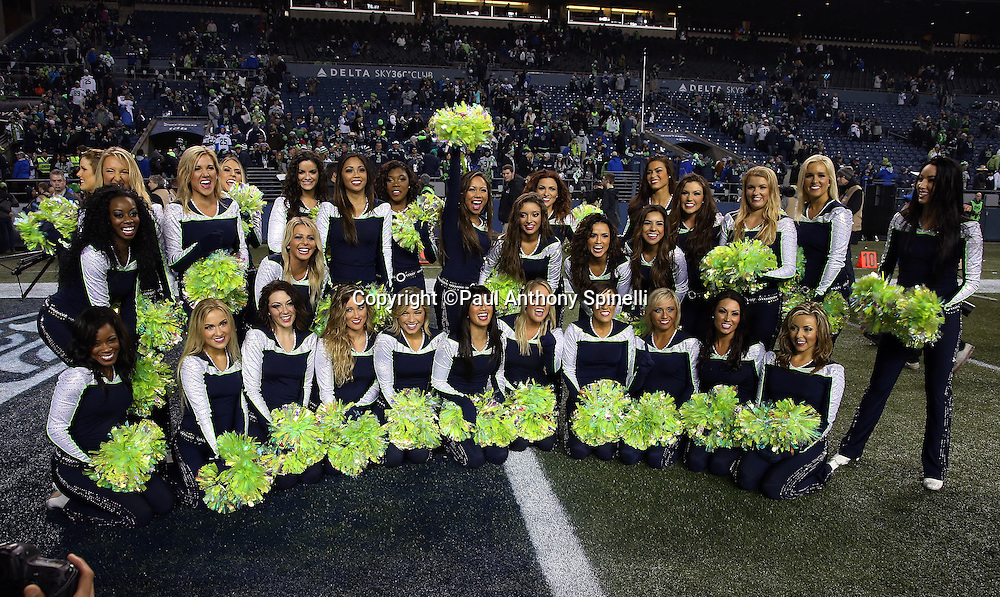 The Seattle Seahawks Sea Gals cheerleaders pose for a postgame photo after the NFL week 19 NFC Divisional Playoff football game against the Carolina Panthers on Saturday, Jan. 10, 2015 in Seattle. The Seahawks won the game 31-17. ©Paul Anthony Spinelli