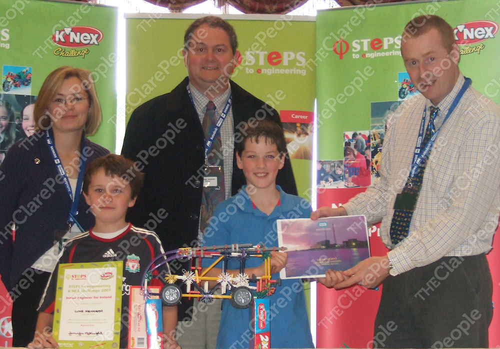 STEPS to engineering K'NEX Clare Regional Final Winners Colin Crowley and Luke Kennedy of Moyasta National School, Kilrush presented with their prize of a school trip to ESB Moneypoint by Judges Margaret Browne, Michael Murphy and John Casey from Moneypoint in Kilrush. &Ecirc;<br />