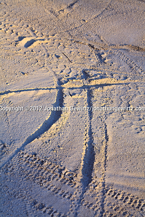 Bicycle and other tire tracks on sandy soil, in the form of an abstract human figure with outstretched arms. WATERMARKS WILL NOT APPEAR ON PRINTS OR LICENSED IMAGES.