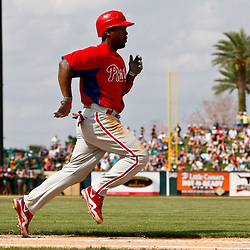 March 9, 2011; Lakeland, FL, USA; Philadelphia Phillies shortstop Jimmy Rollins (11) during a spring training exhibition game against the Detroit Tigers at Joker Marchant Stadium.   Mandatory Credit: Derick E. Hingle