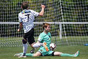Hawke's Bay United Cory Chettleburgh scores past Team Wellington Marcel Kampman in the Handa Premiership football match, Hawke's Bay v Wellington, Bluewater Stadium, Napier, Sunday, February 03, 2019. Copyright photo: Kerry Marshall / www.photosport.nz