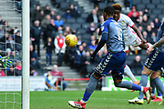 Milton Keynes Dons striker (on loan from Chelsea) Ike Ugbo (27) heads at goal during the EFL Sky Bet League 1 match between Milton Keynes Dons and Charlton Athletic at stadium:mk, Milton Keynes, England on 17 February 2018. Picture by Dennis Goodwin.
