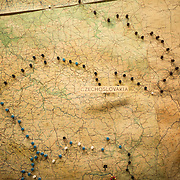 Pins mark out the progress of the war around Czechoslovakia on a map at the Churchill War Rooms in London. The museum, one of five branches of the Imerial War Museums, preserves the World War II underground command bunker used by British Prime Minister Winston Churchill. Its cramped quarters were constructed from a converting a storage basement in the Treasury Building in Whitehall, London. Being underground, and under an unusually sturdy building, the Cabinet War Rooms were afforded some protection from the bombs falling above during the Blitz.