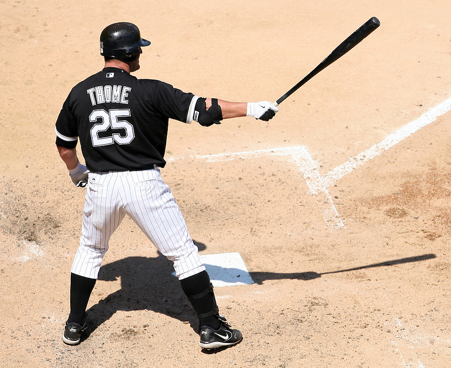 CHICAGO - JULY 8:  Jim Thome #25 of the Chicago White Sox bats during the game against the Minnesota Twins at U.S. Cellular Field in Chicago, Illinois on July 8, 2007.  The White Sox defeated the Twins 6-3.  (Photo by Ron Vesely/MLB Photos )