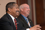 "Brice Bible(right), Dr. McDavis(left)...Ohio University names Brice Bible new CIO.Veteran brings deep IT expertise and strategic direction to campus.ATHENS, Ohio (March 7, 2007) -- Ohio University President Roderick J. McDavis announced today that Brice Bible will become the university's chief information officer, effective April 16...Bible comes to Ohio University from the University of Tennessee, Knoxville, where he is interim CIO and assistant vice president for Information Technology...""Brice stood out for his ability to think analytically, work with all stakeholders and understand organizational issues,"" McDavis said. ""We wanted someone with a record of success who could create a strategic direction for IT that fits in with our mission of academic excellence.""..Overseeing an $18 million budget and approximately 150 employees, Bible will lead the university's central information technology group, which comprises computer, infrastructure and security policies, central e-mail, telephone, computer networking and administrative data services. He will report directly to the president as a member of the senior administrative cabinet...At Tennessee, he was responsible for all aspects of information technology and led IT restructuring efforts that included implementing a comprehensive IT security plan, strategic assessment of IT, and a new system that consolidated e-mail and calendar items on campus. He also fostered a partnership between University of Tennessee faculty and the nearby Oak Ridge National Laboratory that created a network for advanced research projects...Other Bible initiatives helped reduce costs and improve learning resources. For instance, he developed a print management system for student computer labs that reduced paper expenditures by 50 percent and was instrumental in developing an information commons area in the library...Bible's experience goes beyond technology. He has been involved in teaching, research, applied research and academic programmin"