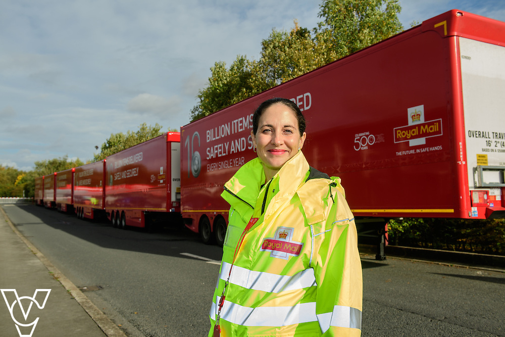 Pictured is Sally Warren, area distribution manager - North region, with the double decker trailers.<br /> <br /> Royal Mail is rolling out 400 new double decker trailers (called 95's), which feature a rising platform to provide two layers of storage.   They are currently used for transporting Yorks, but at the end of October, Yorkshire Distribution Centre is going to use them to loose load 16,000 packages - double the current capacity of the single trailers.<br /> <br /> Picture: Chris Vaughan Photography<br /> Date: October 17, 2016