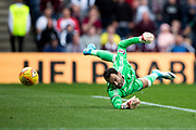 Heart of Midlothian goalkeeper Jon McLaughlin (#1) tips the ball round the post from a shot by Heart of Midlothian forward Esmael Goncalves (#77) during the Ladbrokes Scottish Premiership match between Heart of Midlothian and Aberdeen at Murrayfield, Edinburgh, Scotland on 9 September 2017. Photo by Craig Doyle.