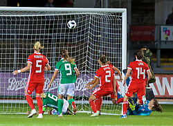 NEWPORT, WALES - Tuesday, September 3, 2019: Northern Ireland's captain Ashley Hutton celebrates scoring an injury time equalising goal to make the score 2-2 as Wales players look dejected during the UEFA Women Euro 2021 Qualifying Group C match between Wales and Northern Ireland at Rodney Parade. The game ended in a 2-2 draw. (Pic by David Rawcliffe/Propaganda)