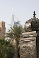 Dubai UAE Beautifully detailed lanterns lining bridge at Madinat Jumeirah Resort in Jumeira