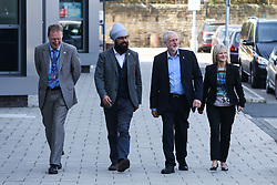 © Licensed to London News Pictures. 10/05/2017. Leeds, UK. Labour Leader Jeremy Corbyn meets staff and pupils with shadow education secretary Angela Rayner and Shadow Business Secretary Rebecca Long-Bailey at Leeds City College in West Yorkshire. Yesterday Labour officially launched their general election campaign and unveiled their 'battle bus' in Manchester. Photo credit : Ian Hinchliffe/LNP