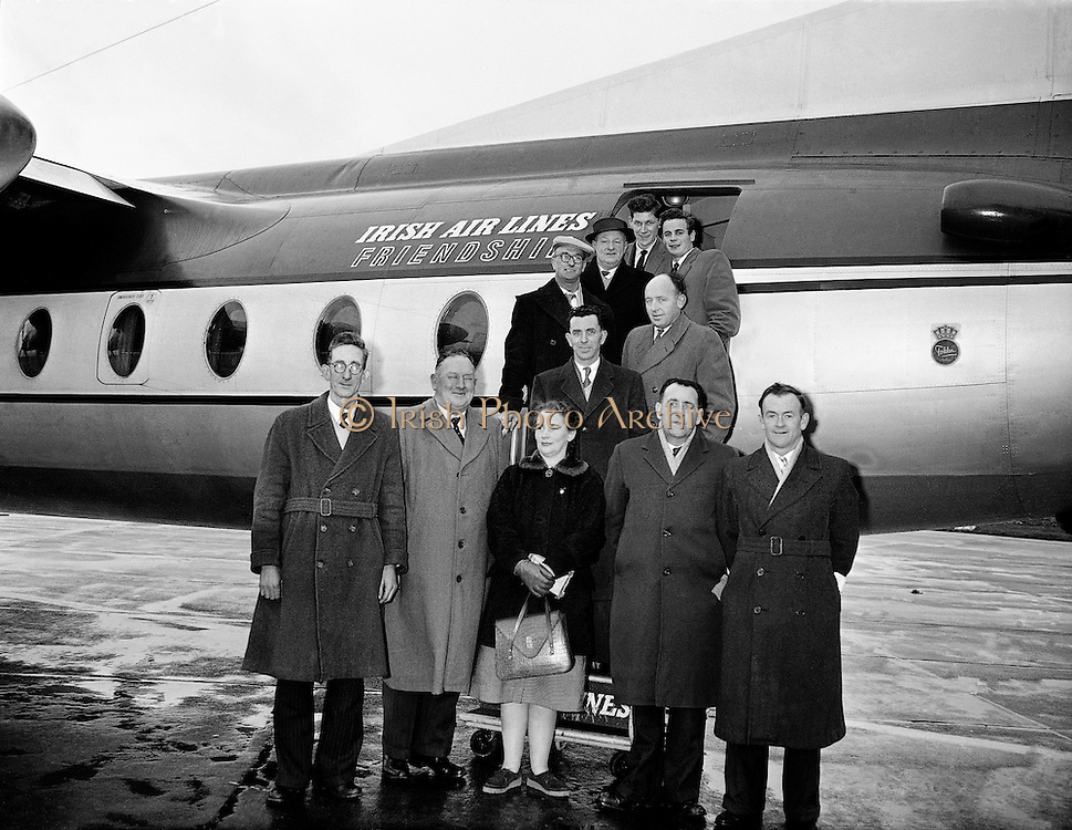 Kilfenora Ceili Band at Dublin Airport..1960..29.01.1960..01.29.1960..29th January 1960...Image shows the Kilfenora Ceili Band as they are about to depart for Birmingham to begin a two week tour of England.