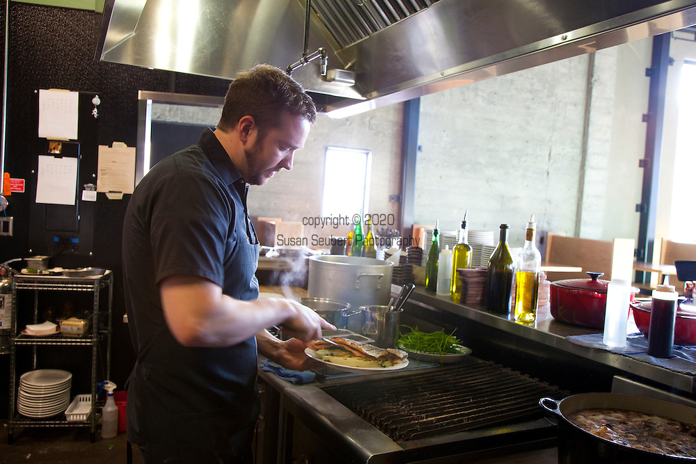 Beaker and Flask, a hip new restaurant in SE Portland Oregon headed by Benjamin Bettinger, formerly a chef at Paley's Place. Picutred here is Mr. Bettinger.