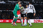Derby County goalkeeper Ben Hamer (12) catches the ball during the EFL Sky Bet Championship match between Derby County and Charlton Athletic at the Pride Park, Derby, England on 30 December 2019.
