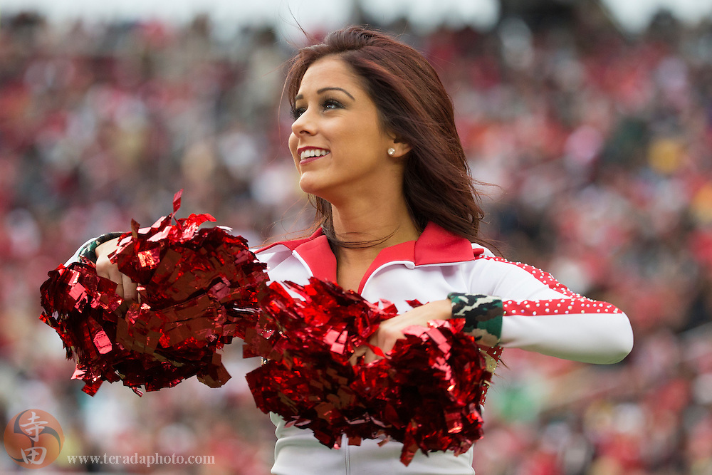 November 8, 2015; Santa Clara, CA, USA; San Francisco 49ers Gold Rush cheerleader Kacy performs during the third quarter against the Atlanta Falcons at Levi's Stadium. The 49ers defeated the Falcons 17-16.