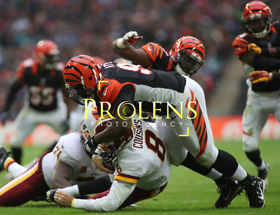 NFL International Series 2016 Washington Redskins @ Cincinnati Bengals 30th OCT 2016<br /> <br /> Cincinnati Bengals Defensive Tackle Geno Atkins (97) sacks Washington Redskins Quarterback Kirk Cousins (8)  during game 17 of the NFL International Series between the  Washington Redskins and Cincinnati Bengals, From Wembley Stadium, London.<br /> <br /> Pic Micthell Gunn / PLPA? ProLens Photo Agency.<br /> Sunday 30 October 2016