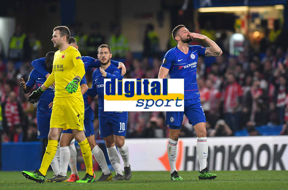 Football - 2018 / 2019 UEFA Europa League - Quarter-Final, Second Leg: Chelsea (1) vs. Slavia Prague (0)<br /> <br /> Chelsea's Olivier Giroud celebrates scoring his side's third goal, at Stamford Bridge.<br /> <br /> COLORSPORT/ASHLEY WESTERN