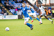 Macclesfield Town midfielder Jay Harris in action during the EFL Sky Bet League 2 match between Macclesfield Town and Colchester United at Moss Rose, Macclesfield, United Kingdom on 28 September 2019.