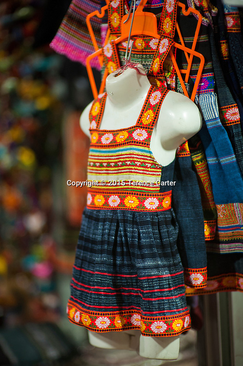 A local hilltribe dress for sale in the markets of Sapa, Vietnam.