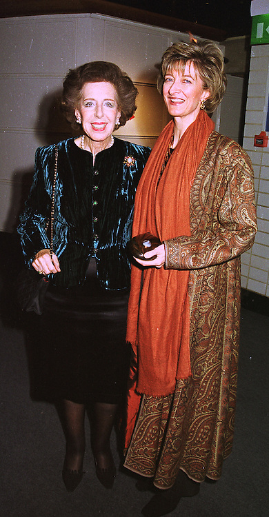 Left to right, LADY WEINSTOCK and her daughter in law MRS WEINSTOCK widow of the Hon.Simon Weinstock, at an exhibition in London on 26th October 1998.MLF 27